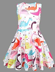 cheap -Kids Little Girls' Dress Dinosaur Animal Skater Dress Easter Rainbow Dresses