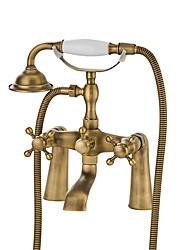 cheap -Bathtub Faucet Chrome Wall Mounted Ceramic Valve Bath Shower Mixer Taps / Two Handles Two Holes