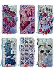 cheap -Case For Apple iPhone XS / iPhone XR / iPhone XS Max Wallet / Card Holder / with Stand Full Body Cases Butterfly / Glitter Shine / Panda Hard PU Leather