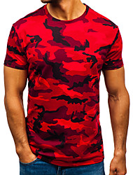 cheap -Men's T shirt Short Sleeve Daily Tops Cotton Basic Casual Streetwear Red camouflage Light gray camouflage Dark gray camouflage