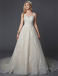 cheap -A-Line Jewel Neck Chapel Train Lace Strapless Glamorous Sparkle & Shine Made-To-Measure Wedding Dresses with Buttons / Lace 2020