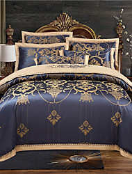 cheap -Duvet Cover Sets 4 Piece Cotton Stripes / Ripples Dark Blue Jacquard Luxury Bedding Set With Pillowcase Bed Linen Sheet Single Double Queen King Size Quilt Covers Bedclothes