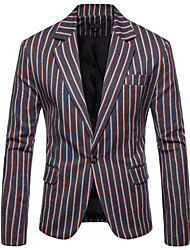 cheap -Navy Blue / Gray / Ocean Blue Striped Slim Fit Polyester Suit - Notch Single Breasted One-button