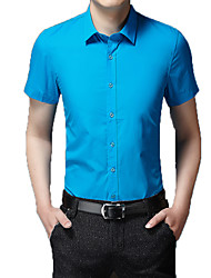 cheap -Men's Wedding Party Basic Shirt - Solid Colored Blue