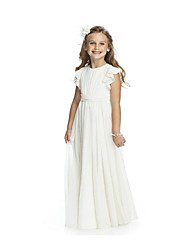 cheap -Sheath / Column Long Length Wedding / Birthday / Pageant Flower Girl Dresses - Chiffon Short Sleeve Jewel Neck with Cascading Ruffles / Ruching