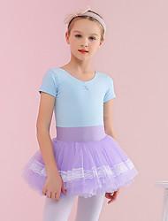 cheap -Kids' Dancewear / Ballet Dresses Girls' Training / Performance Cotton / Elastane Gore / Ruche Short Sleeve Dress
