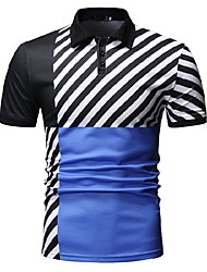 cheap -Men's Striped Color Block Black & White Print Polo Business Work Blue / Red