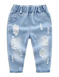 cheap -Kids Boys' Basic Street chic Solid Colored Jacquard Cut Out Hole Ripped Cotton Jeans Blue