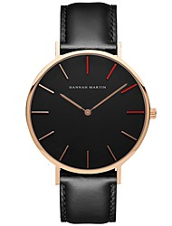 cheap -Men's Dress Watch Quartz Leather Black Casual Watch Analog Fashion Minimalist - Black One Year Battery Life