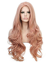 cheap -Synthetic Wig Curly With Bangs Wig Pink Long Orange Synthetic Hair 70 inch Women's Women Pink