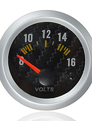 cheap -Carbon Fiber Face Volt Meterr Volt Gauge 12V Yellow LED 8 to 16 Volts
