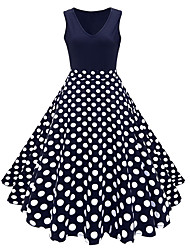 cheap -Audrey Hepburn Country Girl Polka Dots Retro Vintage 1950s Wasp-Waisted Rockabilly Summer Dress Masquerade Women's Cotton Costume Ink Blue Vintage Cosplay Party Daily Festival Sleeveless