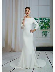 cheap -Mermaid / Trumpet Bateau Neck Court Train Lace / Chiffon Over Satin 3/4 Length Sleeve See-Through / Sexy Made-To-Measure Wedding Dresses with Beading / Appliques 2020 / Illusion Sleeve