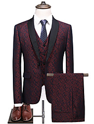 cheap -Men's Burgundy Suits, Shawl Lapel Polyester Blue / Wine