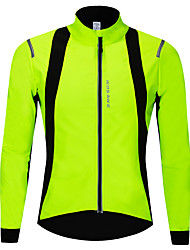 cheap -WOSAWE Cycling Jacket Bike Softshell Jacket Thermal / Warm Windproof Breathable Sports Solid Color Polyester Fleece Winter Green Mountain Bike MTB Road Bike Cycling Clothing Apparel Advanced Relaxed