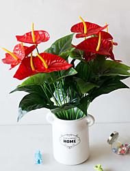 Недорогие -1 шт. 18 голова 5 цветок высота моделирования цветок большой красный ладони моделирования горшках украшения офиса моделирования завод бонсай пластиковые цветок