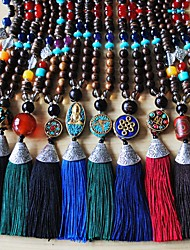 cheap -Women's Pendant Necklace Statement Necklace Y Necklace Beads Totem Series U Shape Bohemian Natural Trendy Fashion Cord Copper Wood Black Dark Red Black / Gray Purple Dark Green 76-80 cm Necklace