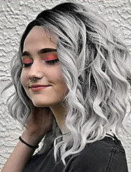 cheap -Synthetic Wig Wavy Asymmetrical Wig Short Grey Synthetic Hair 10 inch Women's Party Dark Gray