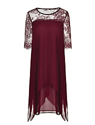 cheap -Women's Sophisticated Sheath Tunic Dress - Solid Colored Patchwork Print Black Navy Blue Wine XXXL XXXXL XXXXXL