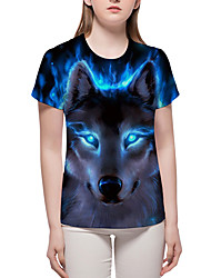 cheap -Women's Masquerade Casual / Daily Basic / Exaggerated T-shirt - Color Block / 3D / Animal Print Blue