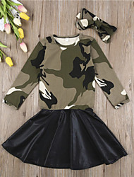 cheap -Baby Girls' Active / Basic Solid Colored Patchwork Long Sleeve Knee-length Dress Army Green
