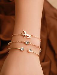 cheap -3pcs Women's Cuff Bracelet Pendant Bracelet Layered Horse European Trendy Casual / Sporty Fashion Imitation Diamond Bracelet Jewelry Gold / Silver For Gift Daily Street Holiday