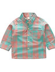 abordables -Enfants Garçon Basique Géométrique Manches Longues Coton Chemise Vert