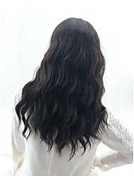 cheap -Synthetic Wig Wavy Matte Layered Haircut Wig Medium Length Medium Brown Synthetic Hair 16 inch Women's Fashionable Design Party Women Black