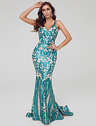 cheap -Mermaid / Trumpet V Neck Sweep / Brush Train Sequined Sparkle / Turquoise / Teal Engagement / Formal Evening Dress with Sequin / Pattern / Print 2020