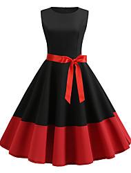 cheap -Women's Red Black Dress Vintage A Line Patchwork S M