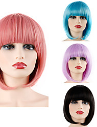 cheap -Synthetic Wig Straight Bob Neat Bang Wig Pink Short Pink Blue Bright Purple Jet Black Synthetic Hair 12 inch Women's Party Adorable Best Quality Pink Laflare