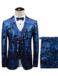 cheap -Royal Blue Patterned Slim Fit Cotton Suit - Notch Single Breasted Two-buttons