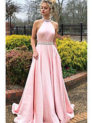 cheap -A-Line Elegant & Luxurious Sparkle & Shine Prom Dress Halter Neck Sleeveless Sweep / Brush Train Satin with Crystals 2020