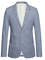 cheap -Striped Slim Fit Cotton Suit - Notch Single Breasted Two-buttons