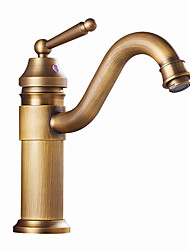 cheap -Bathroom Sink Faucet - Single Antique Brass / Antique Copper / Electroplated Free Standing Single Handle One HoleBath Taps