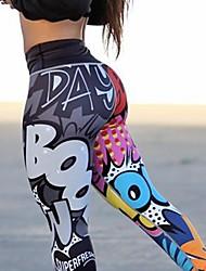 Недорогие -Жен. Штаны для йоги Цвет радуги Эластан Нижняя часть Спорт Спортивная одежда Влагоотводящие Подтяжка Эластичная