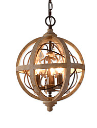 cheap -Ecolight 3-Light 30 cm Candle Style / Tree Chandelier Wood / Bamboo Candle-style / Globe / Drum Wood Vintage / Traditional / Classic 110-120V / 220-240V