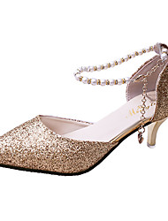 cheap -Women's Heels Glitter Crystal Sequined Jeweled Kitten Heel Pointed Toe Pearl / Buckle Patent Leather British Spring & Summer Gold / Silver / Black / Daily / 2-3