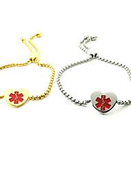cheap -Women's ID Bracelet ID Heart Fashion Stainless Steel Bracelet Jewelry Gold / White For Daily Street