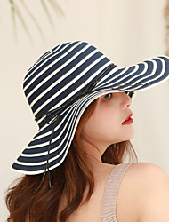cheap -Women's Active Basic Cute Cotton Polyester Sun Hat-Striped Spring Summer Fuchsia Light gray Lavender
