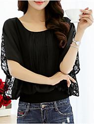 cheap -Women's Daily Wear Plus Size Blouse - Solid Colored Ruffle / Chiffon / Fashion Black / Spring / Summer / Fall