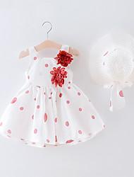 abordables -bébé Fille Bohème Points Polka / Fleur Dos Nu / Imprimé Sans Manches Mi-long Robe Vert / Bébé