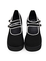 cheap -Women's Lolita Shoes Punk Wedge Heel Shoes Stitching Lace 6 cm Black PU Leather Halloween Costumes