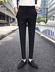 abordables -Homme Basique Chino Pantalon - Couleur Pleine Classique Noir Gris Foncé Gris 29 30 31