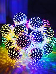 cheap -1 set LED Lantern Solar Light String Outdoor String Lights 5m 20 Light Moroccan Ball Iron Ball Outdoor Waterproof Light
