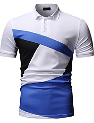 cheap -Men's Color Block Black & White Print Polo Business Work White / Yellow
