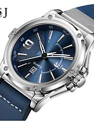 cheap -ASJ Men's Dress Watch Japanese Quartz Genuine Leather Black / Blue 100 m Calendar / date / day Analog Fashion - White Blue One Year Battery Life