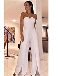 cheap -Women's White Wide Leg Slim Jumpsuit Onesie, Solid Colored Split / Fashion / Off Shoulder S M L Spring Summer Fall / Winter