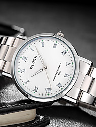 cheap -Men's Steel Band Watches Quartz Stainless Steel Silver 30 m Water Resistant / Waterproof Noctilucent Analog Fashion Minimalist - Silvery / White Black / Silver One Year Battery Life