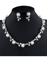 cheap -Women's White Bridal Jewelry Sets Link / Chain Botanical Flower Shape Unique Design Fashion Cute Imitation Pearl Rhinestone Earrings Jewelry Silver For Christmas Wedding Party Engagement Gift 1 set